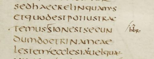 Paris, B.N.F., lat. 152, f. 14r,a: texte préparé par Florus pour sa compilation sur saint Paul tirée d'Hilaire de Poitiers (extrait 129, sur les Hébreux XIII) (cliquer sur l'image pour afficher la page originale sur Gallica)